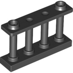 Black Fence 1 x 4 x 2 Spindled with 2 Studs