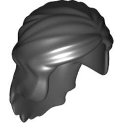 Black Minifigure, Hair Female Mid-Length with Braid around Sides