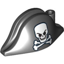 Black Minifigure, Headgear Hat, Pirate Bicorne with Large Skull and Crossbones Pattern