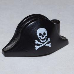 Black Minifigure, Headgear Hat, Pirate Bicorne with Small Skull and Crossbones Pattern - used