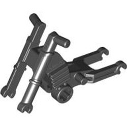 Black Motorcycle Chassis, Long Fairing Mounts and Foot Pegs