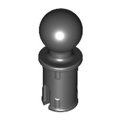Black Technic, Pin with Friction Ridges Lengthwise and Tow Ball with Round Pin Hole
