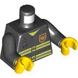 Black Torso Fire Uniform Gold Badge, Silver Reflective Stripes, Dark Bluish Gray Radio Pattern / Black Arms / Yellow Hands