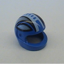 Blue Minifigure, Headgear Helmet Motorcycle with Black Stripes and White Broken Stripe Down the Middle Pattern - used