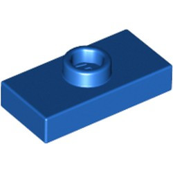 Blue Plate, Modified 1 x 2 with 1 Stud without Groove (Jumper) - new