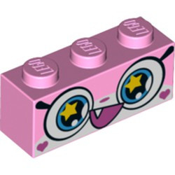 Bright Pink Brick 1 x 3 with Cat Face Wide Eyes with Yellow Stars and Smiling Open Mouth with One Tooth Pattern (Rainbow Unikitty) - new
