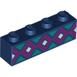 Dark Blue Brick 1 x 4 with Light Turquoise, Magenta, and White Diamonds Pattern