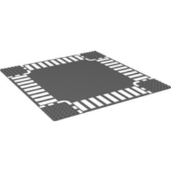 Dark Bluish Gray Baseplate, Road 32 x 32 6-Stud Crossroad with White Dashed Lines and Crosswalks Pattern