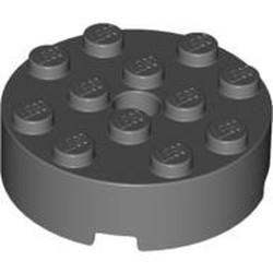 Dark Bluish Gray Brick, Round 4 x 4 with Hole