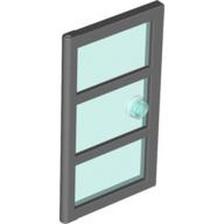 Dark Bluish Gray Door 1 x 4 x 6 with 3 Panes and Stud Handle with Trans-Light Blue Glass - used