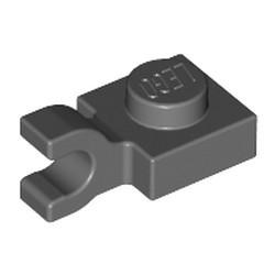 Dark Bluish Gray Plate, Modified 1 x 1 with U Clip (Horizontal Grip) - used