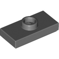 Dark Bluish Gray Plate, Modified 1 x 2 with 1 Stud with Groove and Bottom Stud Holder (Jumper) - used