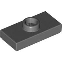 Dark Bluish Gray Plate, Modified 1 x 2 with 1 Stud without Groove (Jumper) - used