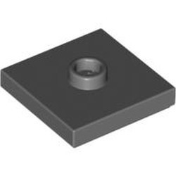 Dark Bluish Gray Plate, Modified 2 x 2 with Groove and 1 Stud in Center (Jumper) - used