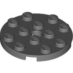 Dark Bluish Gray Plate, Round 4 x 4 with Hole - used