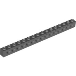 Dark Bluish Gray Technic, Brick 1 x 16 with Holes