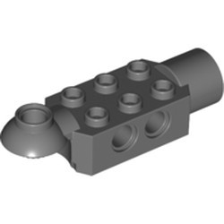 Dark Bluish Gray Technic, Brick Modified 2 x 3 with Pin Holes, Rotation Joint Ball Half (Horizontal Top), Rotation Joint Socket - used