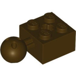Dark Brown Technic, Brick Modified 2 x 2 with Ball Joint and Axle Hole with 6 Holes in Ball - used