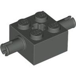 Dark Gray Brick, Modified 2 x 2 with Pins and Axle Hole - used