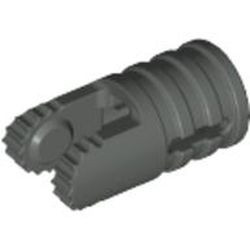 Dark Gray Hinge Cylinder 1 x 2 Locking with 2 Fingers, 9 Teeth and Axle Hole on Ends with Slots