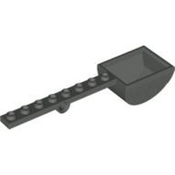 Dark Gray Plate, Modified 1 x 8 with Pin Hole and Bucket (Catapult) - used
