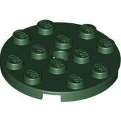 Dark Green Plate, Round 4 x 4 with Hole