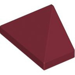 Dark Red Slope 45 2 x 1 Triple with Inside Bar - used