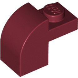 Dark Red Slope, Curved 2 x 1 x 1 1/3 with Recessed Stud - used