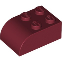Dark Red Slope, Curved 3 x 2 x 1 with Four Studs - used