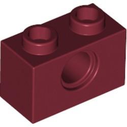 Dark Red Technic, Brick 1 x 2 with Hole