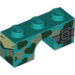Dark Turquoise Brick, Arch 1 x 3 with Black and Silver Heart Camouflage and Radio Pattern - new