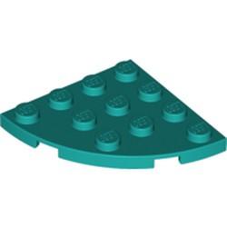 Dark Turquoise Plate, Round Corner 4 x 4