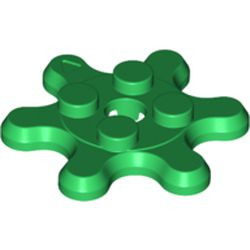Green Plate, Round 2 x 2 with 6 Gear Teeth / Flower Petals