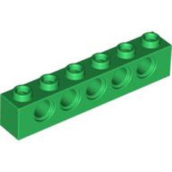 Green Technic, Brick 1 x 6 with Holes - used