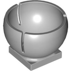 Light Bluish Gray Cylinder Hemisphere 3 x 3 Ball Turret Socket with 2 x 2 Base - new