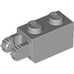 Light Bluish Gray Hinge Brick 1 x 2 Locking with 2 Fingers Vertical End, 7 Teeth