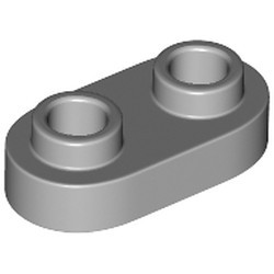 Light Bluish Gray Plate, Modified 1 x 2 Rounded with 2 Open Studs - new