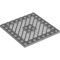 Light Bluish Gray Plate, Modified 8 x 8 with Grille and Hole in Center