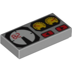 Light Bluish Gray Tile 1 x 2 with Groove with Red 82, Yellow and White Gauges Pattern