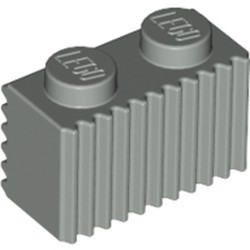 Light Gray Brick, Modified 1 x 2 with Grille / Fluted Profile