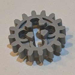 Light Gray Technic, Gear 16 Tooth (First Version - 4 Round Holes) - used