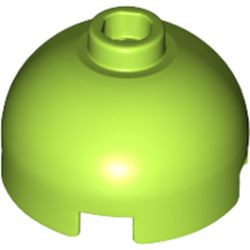 Lime Brick, Round 2 x 2 Dome Top - Blocked Open Stud with Bottom Axle Holder x Shape + Orientation