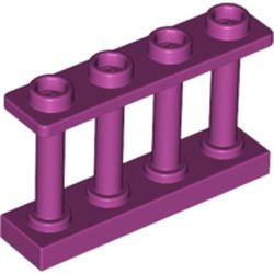 Magenta Fence 1 x 4 x 2 Spindled with 4 Studs