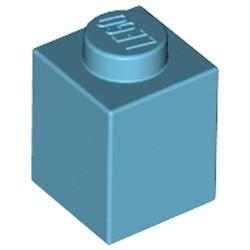 Medium Azure Brick 1 x 1