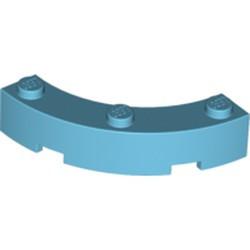 Medium Azure Brick, Round Corner 4 x 4 Macaroni Wide with 3 Studs