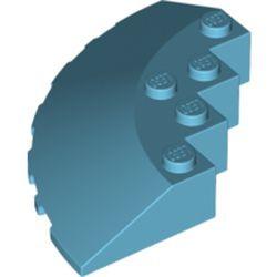 Medium Azure Brick, Round Corner 6 x 6 with Slope 33 Edge, Facet Cutout