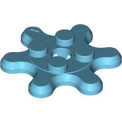 Medium Azure Plate, Round 2 x 2 with 6 Gear Teeth / Flower Petals - new
