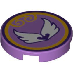 Medium Lavender Tile, Round 2 x 2 with Bottom Stud Holder with Elves Wind Power Icon Pattern