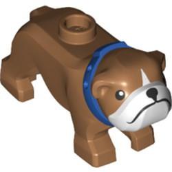 Medium Nougat Dog, Bulldog with Black Eyes, Nose and Mouth, White Muzzle, and Blue Collar Pattern