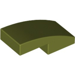 Olive Green Slope, Curved 2 x 1